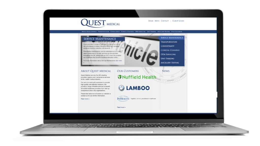 The home page of the Quest Medical website designed by Flowmedia.