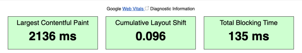 WebPageTest Results for Core Web Vitals